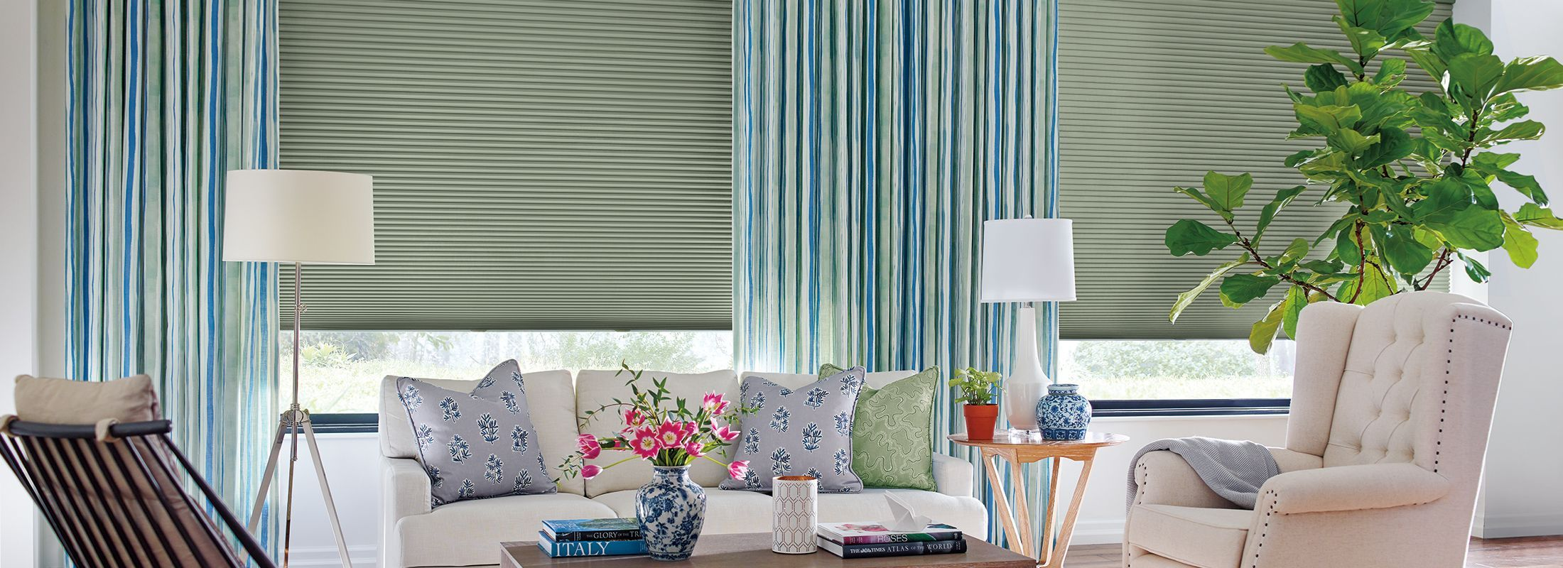 Design Studio Side Panels Fabric in Garden Stripe Green/Blue