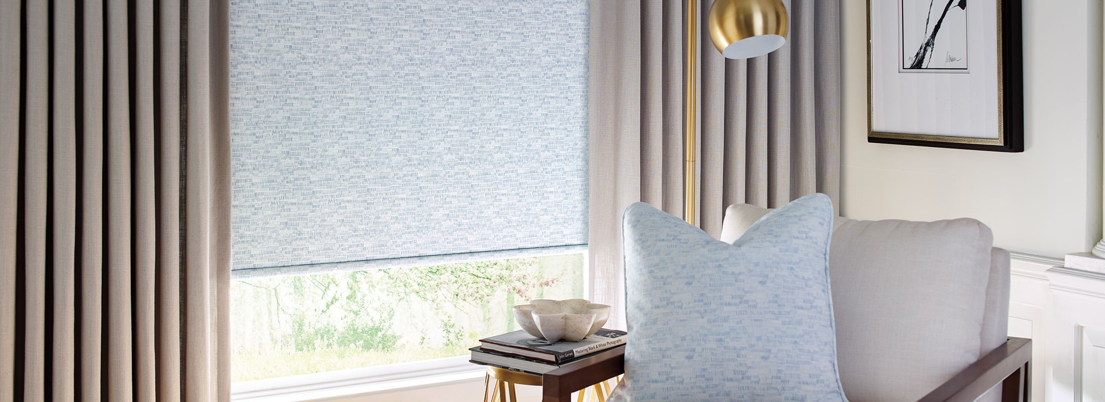 Design Studio Roller Shades in Field Green/Gray