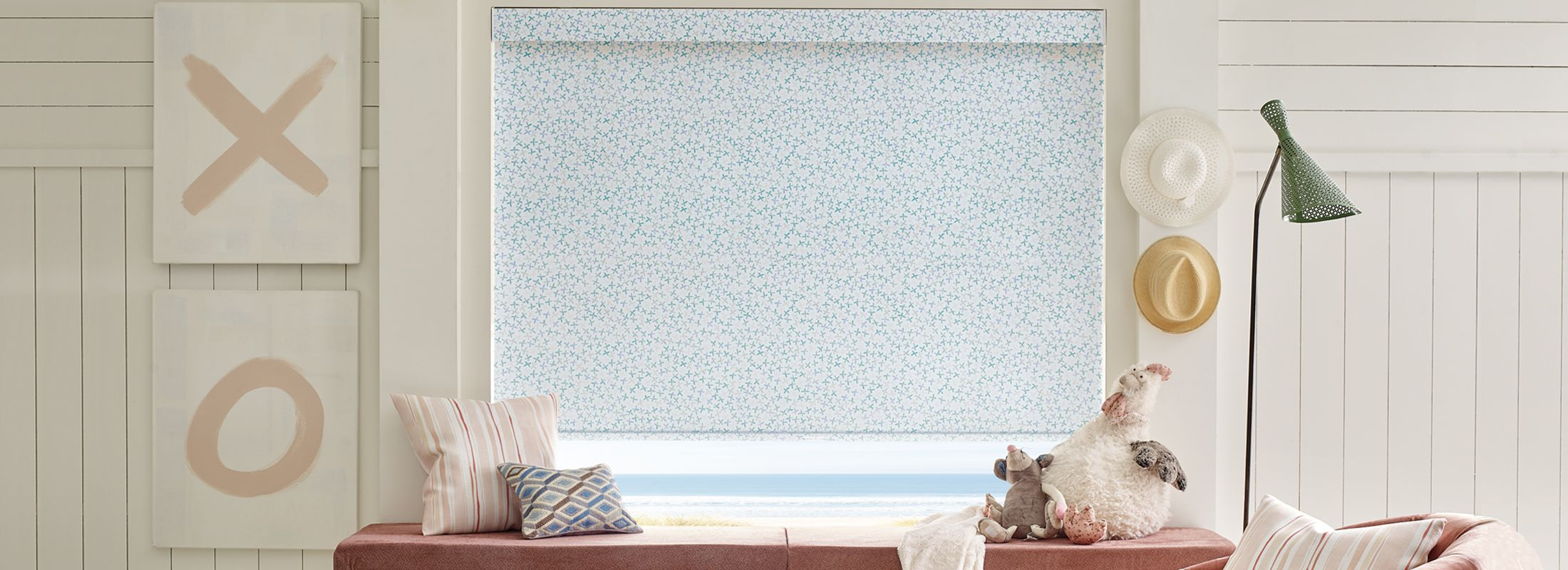 Design Studio Roller Shades in Floral Stamp Green/Blue