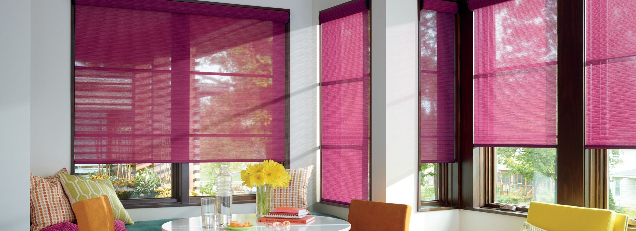 Roller curtains in Alexander Fuschia - Designer Roller Shades