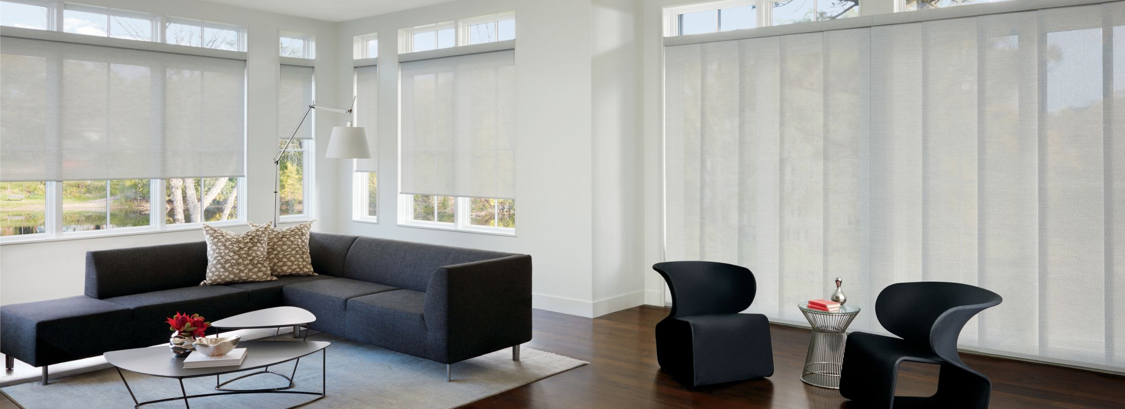 Solar screen shades in Barista White Mocha - Designer Screen Shades